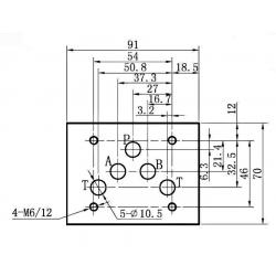 electro distributeur hydraulique monostable - NG10 - 4/3 - Y en A/B/T et P FERME - 12 VCC - N6