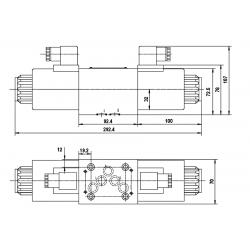 electro distributeur monostable - D-E - NG 10 - Centre ouvert en H - 24 VDC - DICSA N 3