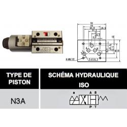 electro distributeur hydraulique monostable - NG10 - 4/2 CENTRE OUVERT - en H - 12 VCC. N3A. KVNG103A12CCH  110,40€