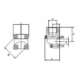 Bride Alu 4 trous - 90° - F 1/2 BSP - BOSCH - A 40