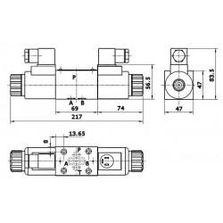electrodistributeur 12 VCC monostable - NG6 - 4/3 CENTRE TANDEM - P sur T - N2.