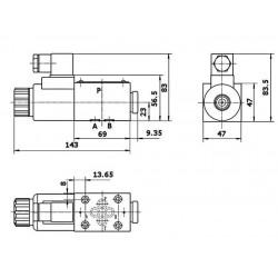 electrodistributeur 12 VDC monostable - NG6 - 4/2 CENTRE FERME - N1A.