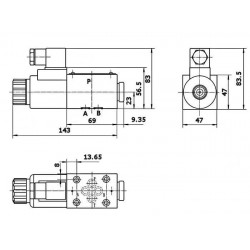 electrodistributeur 220 VAC monostable - NG6 - 3/2 - P vers A - B et T Fermé - N41A.