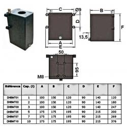 Réservoir acier 1 L pour pompe manuelleDHBMT01 Reservoirs hydraulique 31,20€