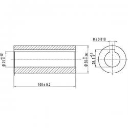 Douille profilée Ø 25 x 50 - Clavette 8 mm - Longueur 100mm. 6740166KR Douilles profilées - canelées 26,88€