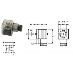 Connecteur rectificateur transparent a LED - 220/50 V