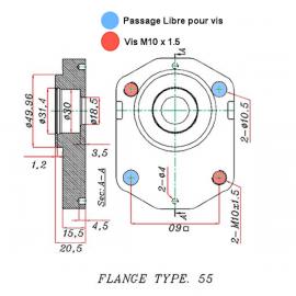 Pompe hydraulique auxiliaire BOBARD - Gauche - 08 CC - Cone 1:5 - BRIDE 55 BOBARD510415313 Pompes hydraulique a engrenage 235...