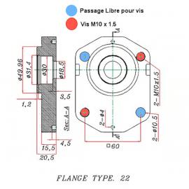 Pompe hydraulique DEUTZ - GAUCHE - 11 CC - Bride 22