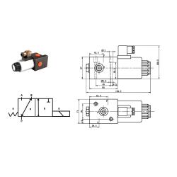 Sélecteur hydraulique - 3 Voies - 1/2 BSP - 80 L/MN - 12 V CC. S3V1212CC Sélecteurs 3 voies 115,20€