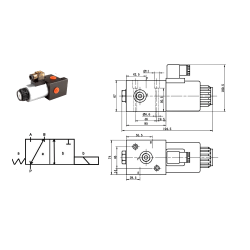 Sélecteur hydraulique - 3 Voies - 1/2 BSP - 80 L/MN - 12 V CC. S3V1212CC Sélecteurs 3 voies
