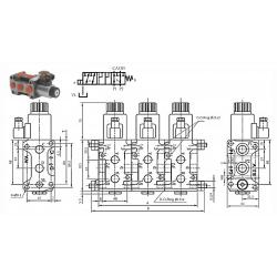 Sélecteur hydraulique - 1 élément 6 VOIES - 3/8 BSP - 50 L/MN - 250 B - 12 VDC - Avec DrainSA6V3812CC1 Sélecteurs 6 à 16 voie...