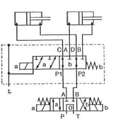 SELECTEUR HYDRAULIQUE - 1 ELEMENT 6 VOIES - 3/8 BSP-50 L/MN- 250 B - 12 VDC