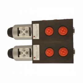 Sélecteur hydraulique - 2 éléments - 8 voies - 3/8 BSP - 50 L/MN- 250 B - 12 VDC - Avec drain SA6V3812CC2 Sélecteurs 6 à 16 v...
