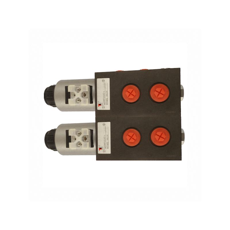 SELECTEUR HYDRAULIQUE - 2 ELEMENTS - 8 VOIES - 3/8 BSP-50 L/MN- 250 B - 12 VDC - DRAIN