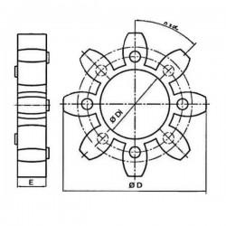 Etoile EGE - DN 46 X 95 - EP : 24 - 8 BRANCHES - 87 Sh EGE4 Etoiles pour accouplement 91,20€