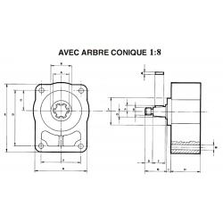 Contre palier - GR1- ARBRE CONIQUE 1:8 *