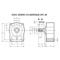 Contre palier - GR1- ARBRE CYLINDRIQUE DN 18 *
