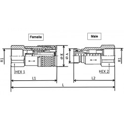 Coupleur hydraulique ANTI-POLLUTION FACE PLANE - Male 1/2 BSP - PS 250 BarA900108 Mâle 16,32€