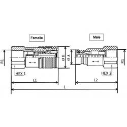Coupleur hydraulique ANTI-POLLUTION FACE PLANE - Male 1/2 BSP - PS 250 Bar