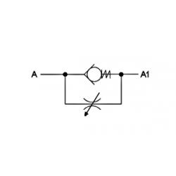 Etrangleur de débit Unidirectionnel : 1/2 FBSP - 45 L/mn - 350 BVT009008 Valves hydraulique 35,04€