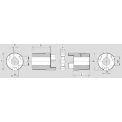 Accouplement élastique - Arbre Moteur electrique DN 24 / Pompe GR1 - cone 1/8