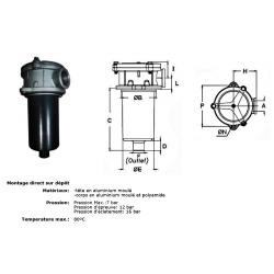 Tete filtre retour semi immergé - 1/2 BSP - Hauteur 89 mm FITR10 25,44 €