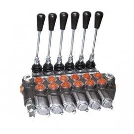 Distributeurs hydrauliques - 1/2 BSP - D.E - 6 Leviers - Limiteur Pression 140 B - 60 L/mn