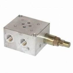 Embase pour 1 electro NG6 - Avec Limiteur de pression - SORTIE LATERALES et DESSOUS 3/8 PBL6VMP Distributeurs hydraulique