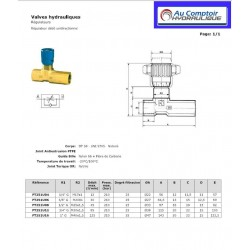 """Regulateur de débit Unidirectionnel : 1"""" FBSP - 125 L/mn - 350 B FT251U16 Valves hydraulique 142,08€"""