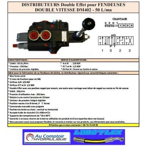 distributeur fendeuse -DM 40 DOUBLE VITESSE- 50 L/MN DM402 Distributeurs de fendeuse 40 L/Mn