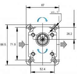 Pompe hydraulique A ENGRENAGE - GR1 - DROITE - 4.8 CC - BRIDE BOSCH