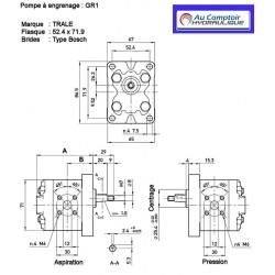 Pompe hydraulique A ENGRENAGE - GR1 - DROITE - 0.7 CC - BRIDE BOSCH