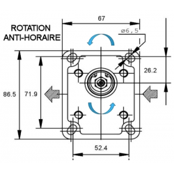 Pompe hydraulique A ENGRENAGE - GR1 - GAUCHE - 2.7 CC - BRIDE BOSCH