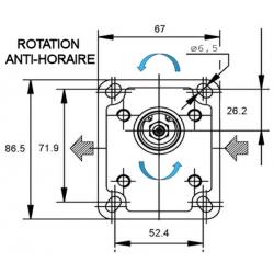 Pompe hydraulique A ENGRENAGE - GR1 - GAUCHE - 3.2 CC - BRIDE BOSCH