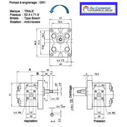 Pompe hydraulique A ENGRENAGE - GR1 - GAUCHE - 0.7 CC - BRIDE BOSCH