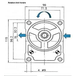 Pompe hydraulique A ENGRENAGE GR2 - GAUCHE - 14.0 CC - BRIDE EUROPEENNEBTD2140I02 GR2 - EUR - C36.5 - CONE 1/8 - BRIDE 10 124...