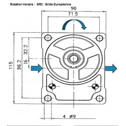 Pompe hydraulique A ENGRENAGE GR2 - DROITE - 23.0 CC - BRIDE EUROPEENNEBTD2230D02 GR2 - EUR - C36.5 - CONE 1/8 - BRIDE 10 124...