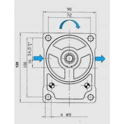 Pompe hydraulique A ENGRENAGE GR2 - DROITE - 23.0 CC - BRIDE BOSCH