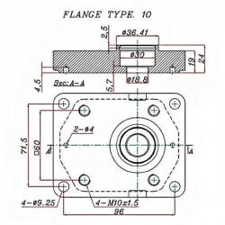 Pompe hydraulique A ENGRENAGE GR2 - DROITE - 14.0 CC - BRIDE EUROPEENNEBTD2140D02 GR2 - EUR - C36.5 - CONE 1/8 - BRIDE 10 124...
