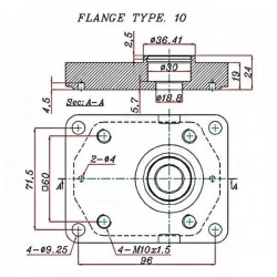 Pompe hydraulique A ENGRENAGE GR2 - DROITE - 25.0 CC - BRIDE EUROPEENNEBTD2250D02 GR2 - EUR - C36.5 - CONE 1/8 - BRIDE 10 124...