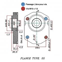 Pompe hydraulique Bosch - DROITE - 12.0 CC - BRIDE BOSCH1L12D55F GR2 - BOSCH - C50 - CONE 1/5 - BRIDE 55 235,20€
