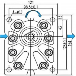 Pompe hydraulique A ENGRENAGE GR3 - DROITE - 46.0 CC - BRIDE EUROPEENNE
