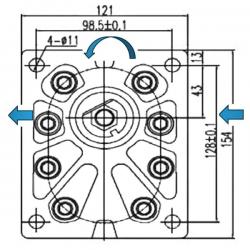 Pompe hydraulique A ENGRENAGE GR3 - GAUCHE - 34.0 CC - BRIDE EUROPEENNE