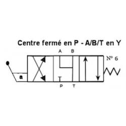 Distributeur a levier - NG 6 - 4-3 - CENTRE Y en A/B/T - FERME en P N6 KVNG6M6H  Tiroir N6 - Y en A/B/T - fermé en P