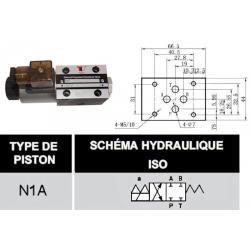 electro distributeur hydraulique monostable - NG6 - 4/2 CENTRE FERME - 220 VAC - N1A