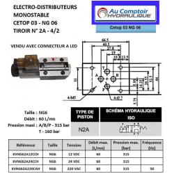 electro distributeur hydraulique monostable - NG6 - 4/2 P sur T - A/B FERME - 24 VDC - N 2A