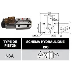 electro distributeur hydraulique monostable - NG6 - 4/2 CENTRE OUVERT - en H - 24 VCC. N3A.