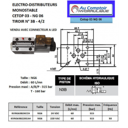 electro distributeur hydraulique monostable - NG6 - 4/2 CENTRE OUVERT - en H - 24 VCC. N3B