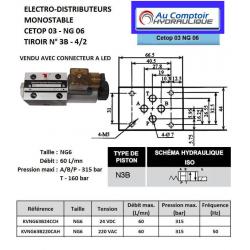 electrodistributeur 220 VAC monostable - NG6 - 4/2 CENTRE OUVERT - en H - N3B.KVNG63B220CAH  78,72€