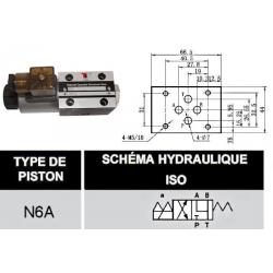electrodistributeur 220 VAC monostable - NG6 - 4/2 - Y - P FERME - N 6A.KVNG66A220CAH  78,72€